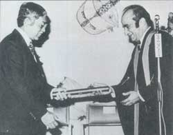 1973 - YABhg Tun Dr. Ismail b. Dato' Abdul Rahman (left) (Deputy Prime Minister of Malaysia) receiving the Honorary A.M. from the Master, Ybhg Dato' Dr. R.P. Pillay